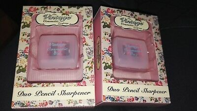 X2 THE VINTAGE COSMETIC COMPANY DUO PENCIL SHARPENER BNIB no mess