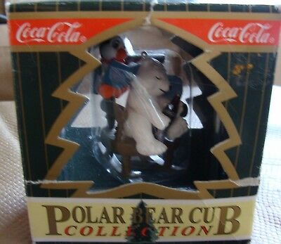 Coca-Cola Polar Bear Club Ornament Penguin Reading to Bear Asleep in Rocker 1997