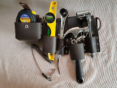 Scaffolding Black Leather Tool Belt + Heavy Duty Full TOOLSET + Safety Lanyard