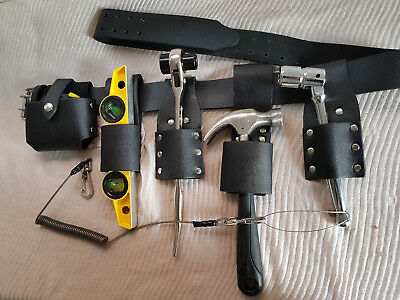 Scaffolding BLACK Leather Tool Belt With Good ToolSet & Safety Lanyards 2 Clips