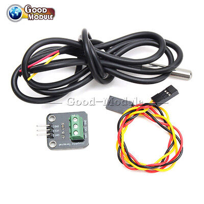 DS18B20 Temperature Sensor Module Probe+Terminal Adapter For Arduino GL