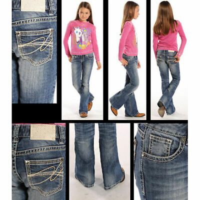 Rock N Roll Lil Cowgirl Feather Stitched Back Pocket Boot Cut Jean G5-1551