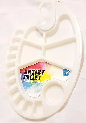 10 X Oval Artist Palette Paint Mixing with Thumbhold Plastic Watercolour