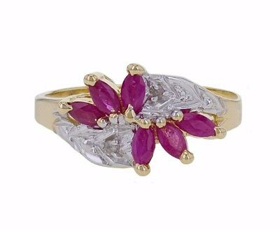14k Two Tone Gold 0.25 ct Marquise Ruby with Round Natural Diamond Ring Size 6.5