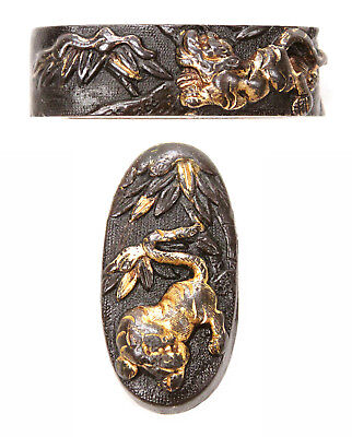 Antique Japanese Set Fuchi Kashira Shakudo Tiger Bamboo Sword Fitting Nanako Old