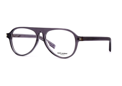 Saint Laurent  SL 159 003 Eyeglasses Transparent Grey Aviator Frame 55mm