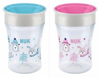 NUK Magic Cup 230 ml,Winter Edition rosa,blau, neuartiger Trinkrand,ab 8 Monaten