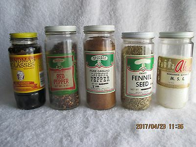 Vintage Collectible Spices & Extracts 2 Pepper 1 Fennel Seed 1 MSG 1 Molasses
