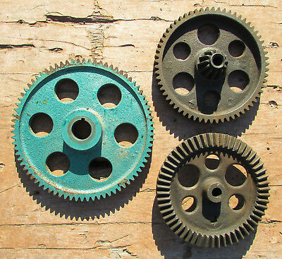 Vintage INDUSTRIAL GEAR LOT COG CAST IRON steampunk Antique Pulley sprocket lamp