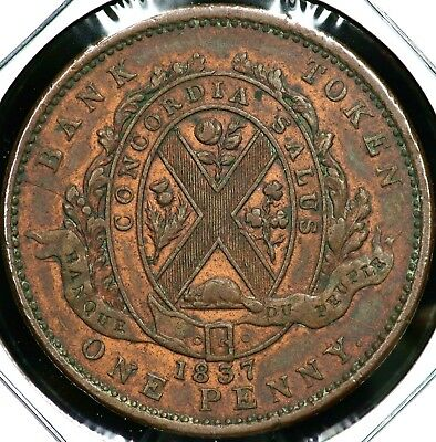 1837 One Penny Bank Token Lower Canada Nice Original Red Luster!