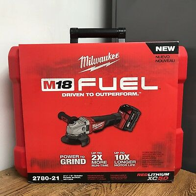 Milwaukee 2780-21 M18 FUEL 4-1/2 in. / 5 in. Grinder Paddle No-Lock, 1 Battery