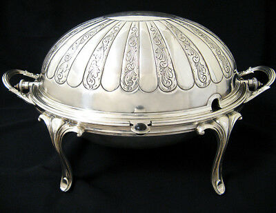 19th c GORGEOUS HUGE ENGLISH SILVER REVOLVING DOME TUREEN ENTREE SERVER DISH