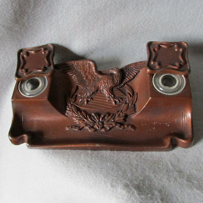 Antique Patriotic, Americana Cast Iron Inkwell with Bald Eagle