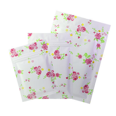 Flat White Zip Lock Mylar Bags with Pink Floral Design in Variety QTY and Sizes