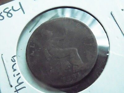 1884 UK 1/2 Half Penny - Antique World Coin - OVER 100 Years old!