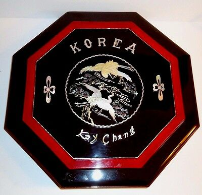 Black Lacquer Large Octagon Sectional Box  Mother Of Pearl Inlay Korea Kay Chang
