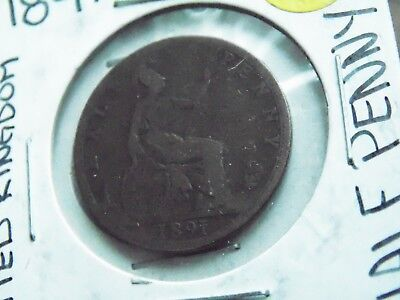 1891 United Kingdom Half Penny Coin - Antique World Coin - OVER 100 Years old!