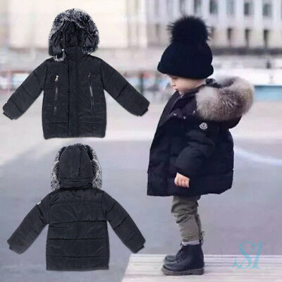 New Kid Toddler Baby Boy Girl Winter Black Outerwear Fur Hooded Coat Down Jacket