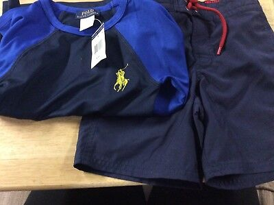 Polo Ralph Lauren Boys 4t Bathing Suit And Swim Shirt Brand New With Tags