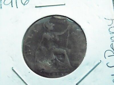 1916 UK Half Penny - Antique World Coin - OVER 100 Years old!