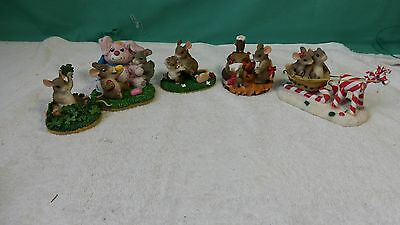 Lot Of 5 Charming Tails Fitz And Floyd  Figurine Mouse