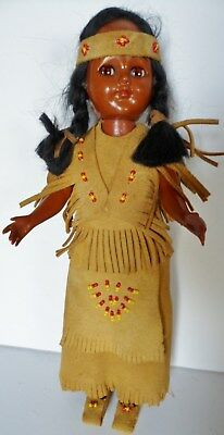 Vintage Native American Indian Doll Leather Beaded Dress Headband Moccasins