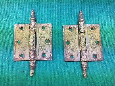 "Pair Ornate Antique Vintage Cast Iron Steeple Tip Victorian 3"" X 3"" Door Hinges"