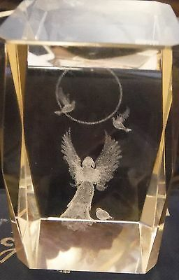 3D Laser Engraved Optical Crystal ~ ANGEL WITH DOVES & HALO