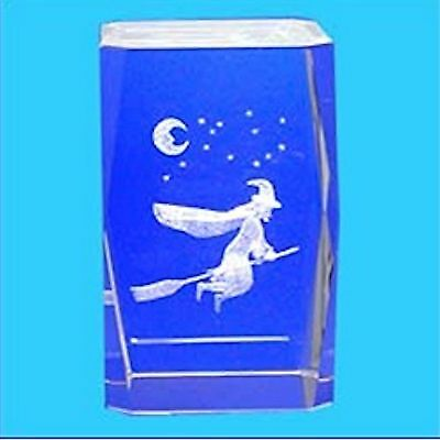 3D Laser Engraved Optical Crystal ~ WITCH ON BROOMSTICK
