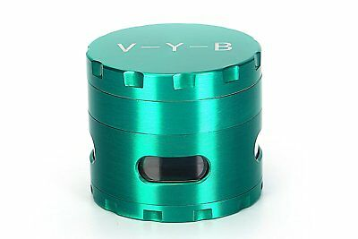 """Large Spice Tobacco Herb Weed Grinder-4 Pc with Pollen Catcher-2.5"""" Gift Green"""