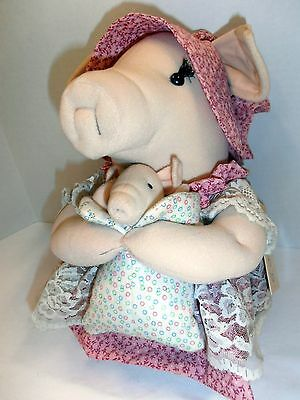 "Vintage 1984 Russ Pink Floral Eloise 13"" Personality Pig-Baby Piglet Betty Kane"
