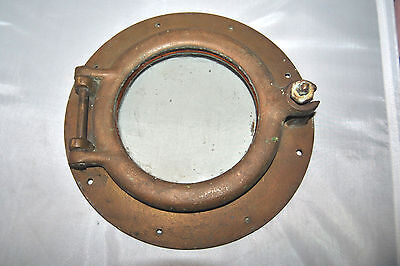 "Antique Original Small Brass Porthole Boat Window 10""D"