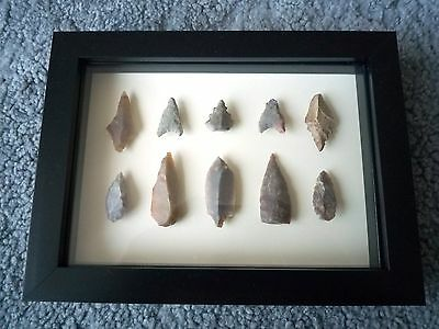 Neolithic Arrowheads in 3D Picture Frame, Authentic Artifacts 4000BC (0874)