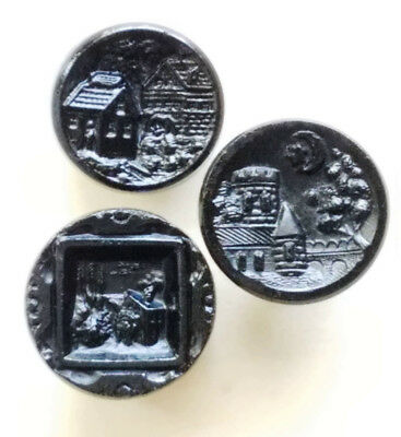 #7F Lot 3 Antique Mourning Black Glass Buttons Scenes Castle Framed in City