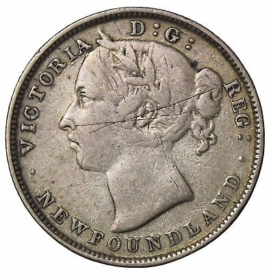 1899 Wide 9 Newfoundland Silver 20 Cents Canada British Queen Victoria KM#4
