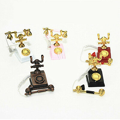 Metal Phone Telephone for 1:12 Scale Dollhouse Miniature Accessories Decor New