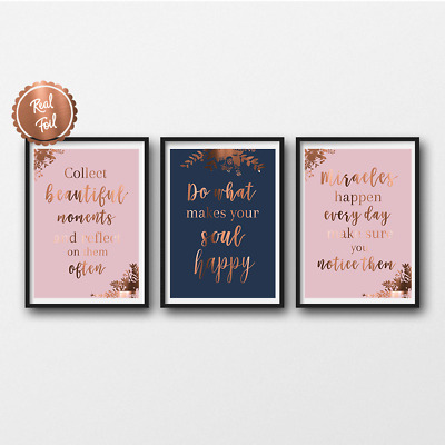 Girl boss quotes Set of 3 inspirational prints Goals Copper Office Decor