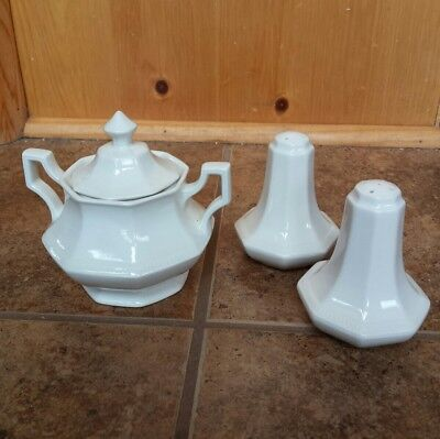 Royal Ironstone China Johnson Bros England Lidded Bowl & Salt & Pepper Set EUC