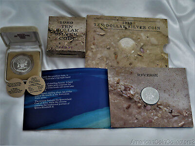 1989 Unc & Proof AUSTRALIAN QUEENSLAND $10 SILVER COINS W PACKAGING | 7896