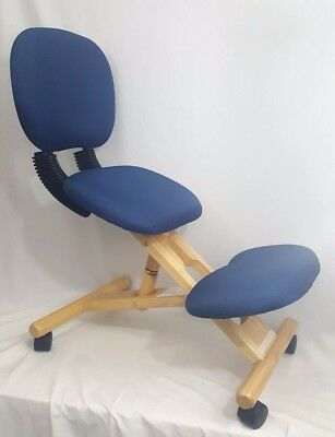 Wooden Ergonomic Chair Kneeling Posture Navy Blue Fabric Reclines Adjusts Mobile