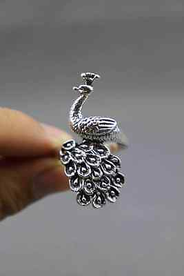 China Miao Silver Handwork Carve Lifelike Peafowl Moral Auspicious Noble Ring