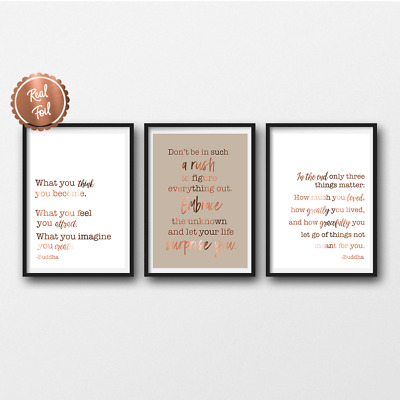 Buddha quotes / copper foil / inspirational quote / silver / gold / custom