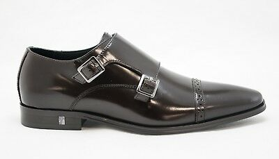 Versace Collection Men's Brown Leather Buckle Shoe V90329 New