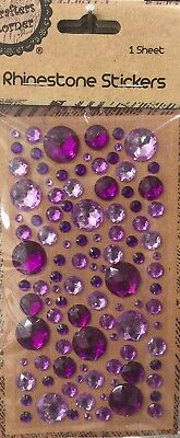 New - Purple And Mauve Rhinestone Stickers - Mixed Sizes - 1 Sheet