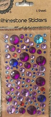 New - Mixed Colour Rhinestone Stickers - Mixed Sizes - 1 Sheet