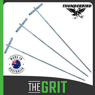 Thunderbird 1m Galvanised Earth Rod Stakes 3 Pack Electric Fence Energiser