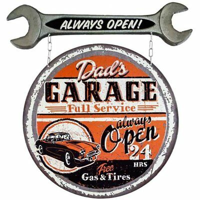 Large Vintage Style Dads Full Service Garage Always Open Metal Tin Wall Sign