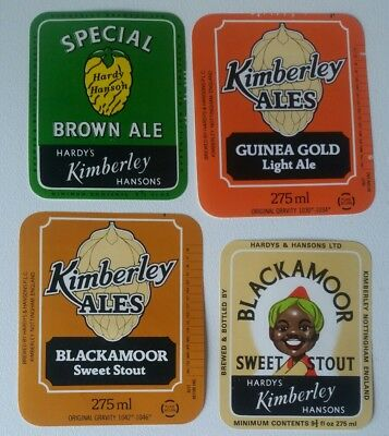4 Different Hardy & Hansons Beer Labels  Blackamoor Stout Free Post Australia