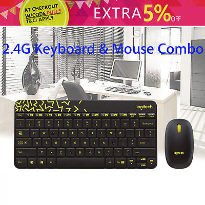 Mini Logitech Wireless Keyboard and Mouse Combo 10m Long Range Gaming+ Receiver