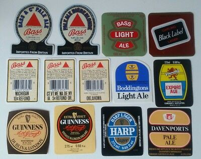 United Kingdom Beer Labels  Guinness Harp Bass Carling Lager Free Post Australia